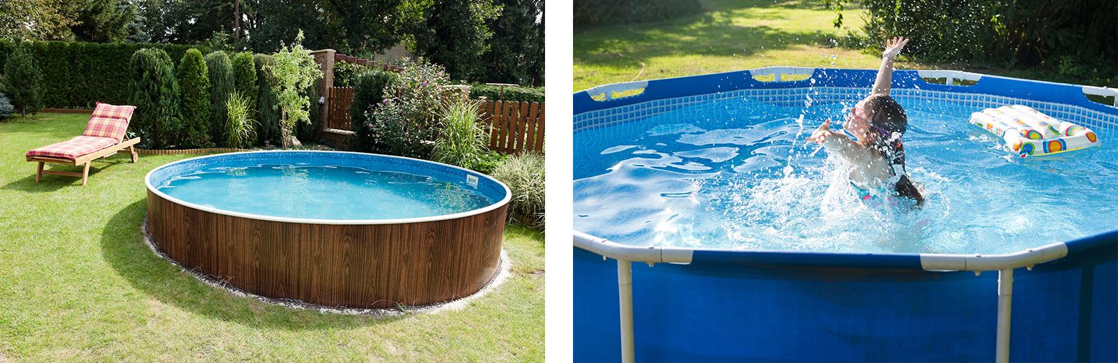 Aufstellpool: Fest installiert (rechts) oder als temporärer Pop-Up-Pool (rechts)