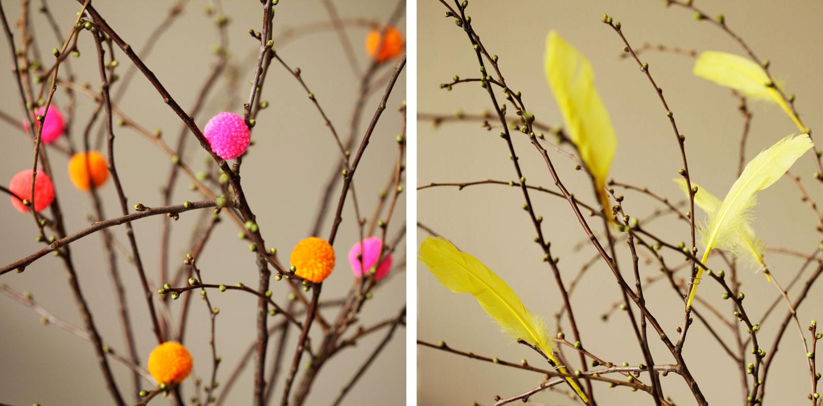 Bommeln und Federn für den Frühlingsstrauch