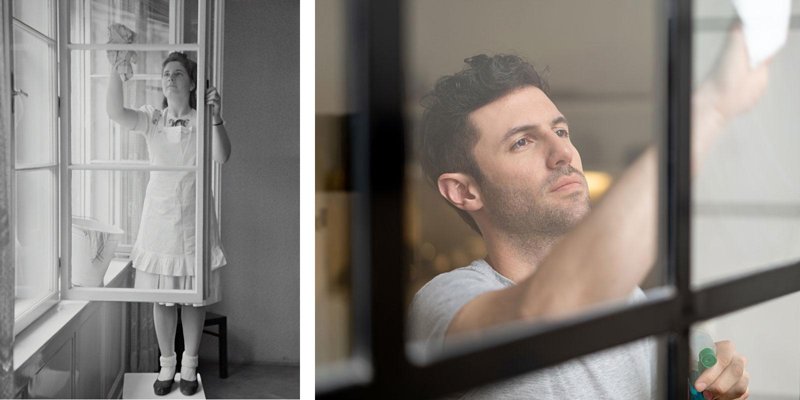 Fensterputzen gestern und heute