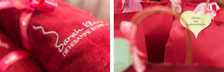 Mit Liebe zum Detail: Im Geschäft erhalten Frauen alles für das Wochenbett, so auch die Geburtstücher (links), die beruhigend auf das Neugeborene wirken.