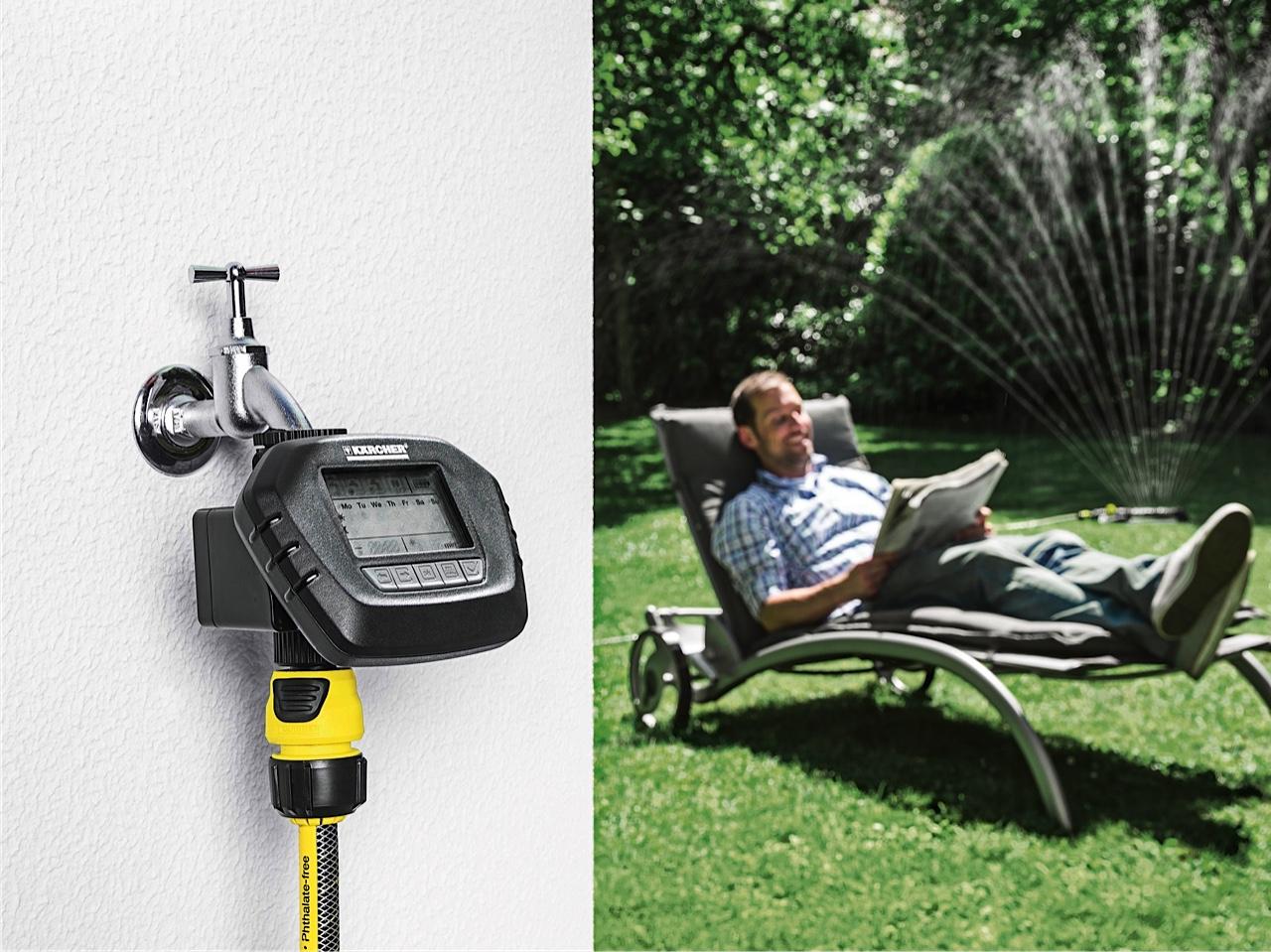 Entspannt zurücklehnen: Smarte Systeme wie der SensoTimer von Kärcher sorgen für die richtige Bewässerung im Garten.