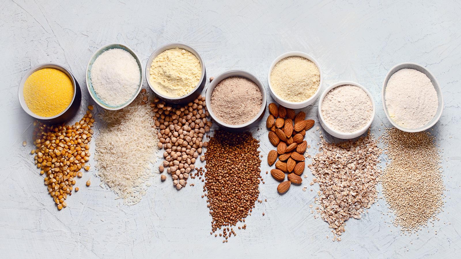 Mais, Reis, Kichererbsen, Buchweizen, Mandeln, Hafer, Quinoa