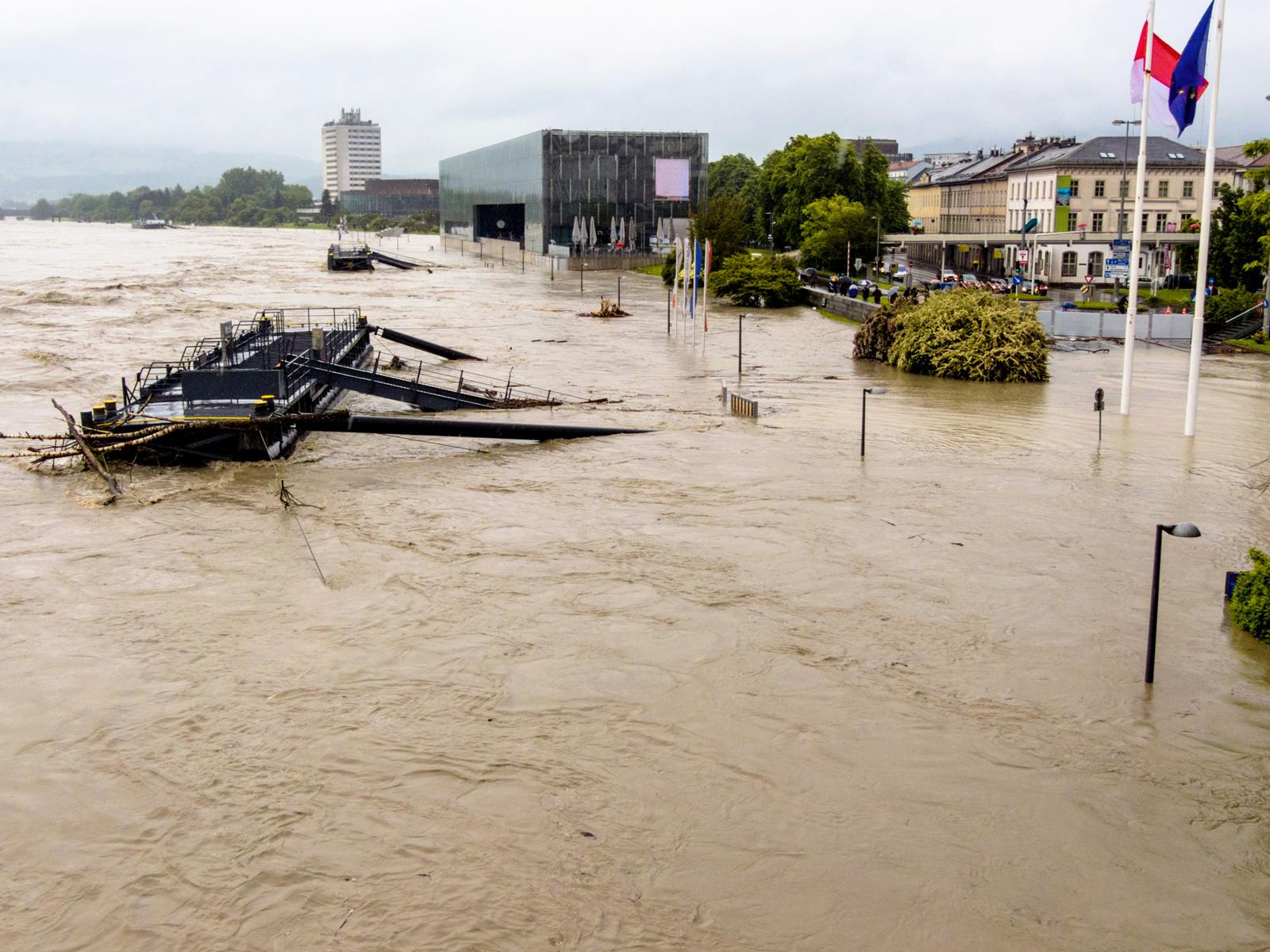 Donauflut in Linz im Jahr 2013