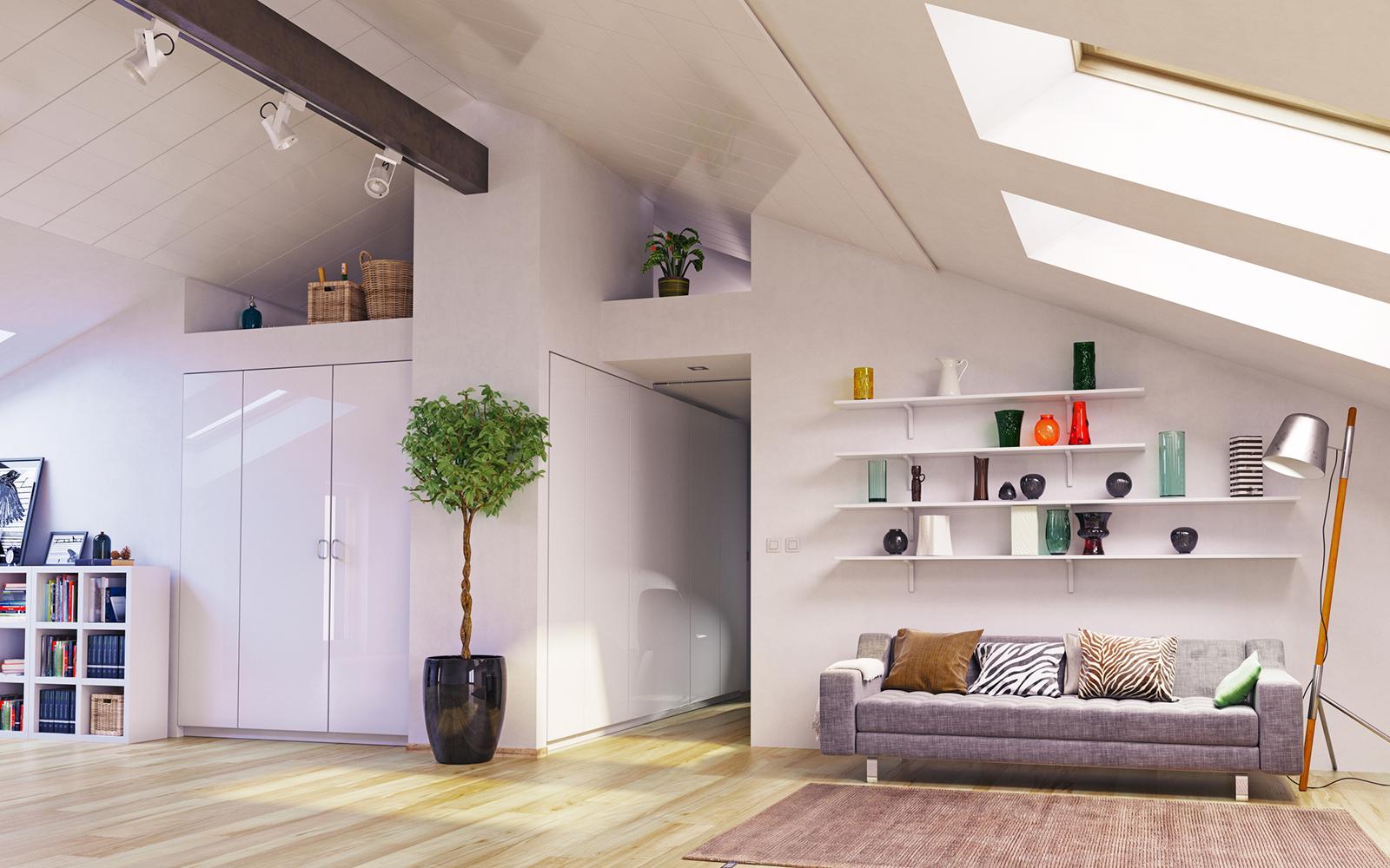 Optimale Platznutzung: Einbauschränke bringen Ruhe und Stauraum ins Dachgeschoss.