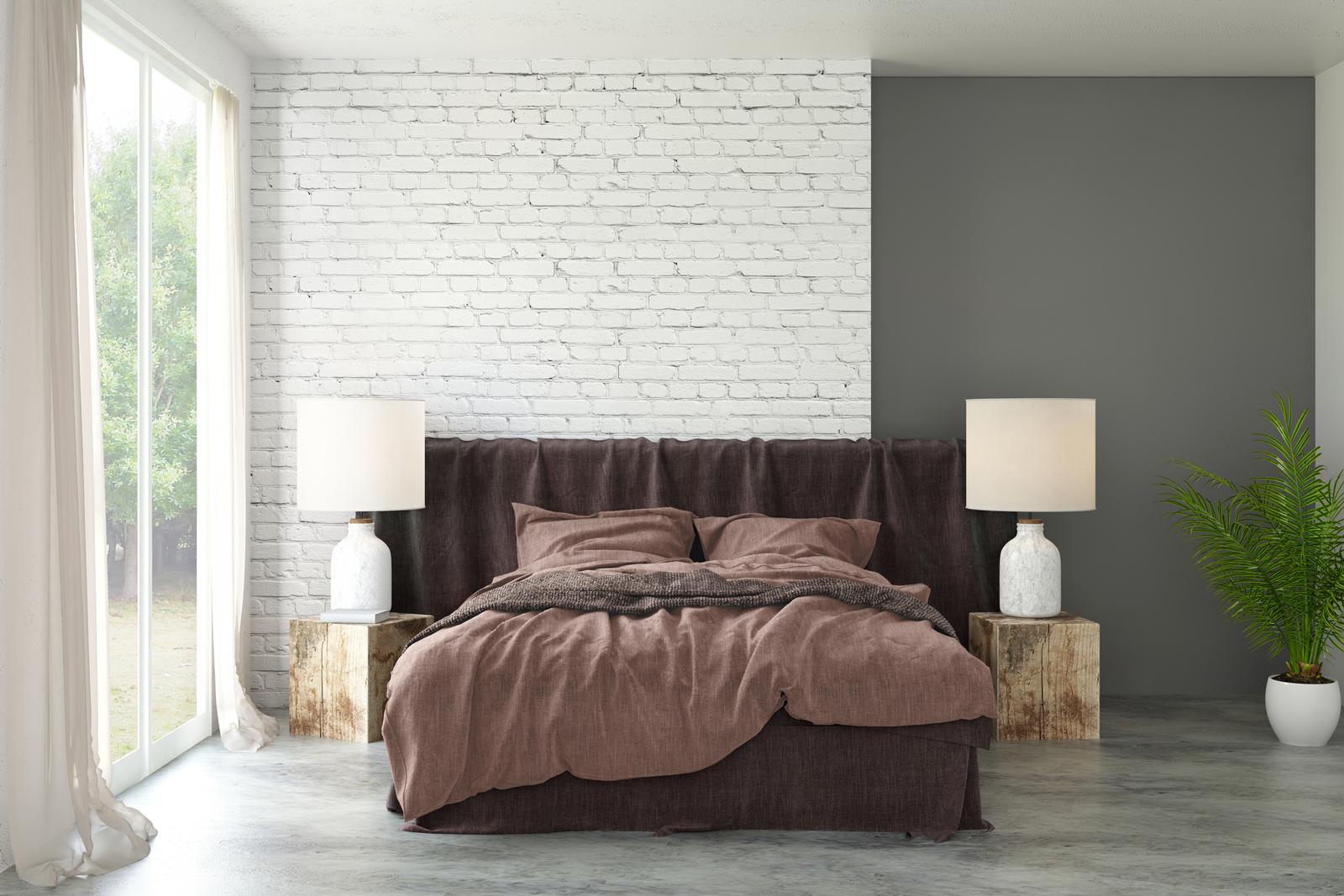 Beton oder Sichtestrich kann im Schlafzimmer edel und auch warm wirken, wenn du den richtigen Farbton und Schliff wählst.