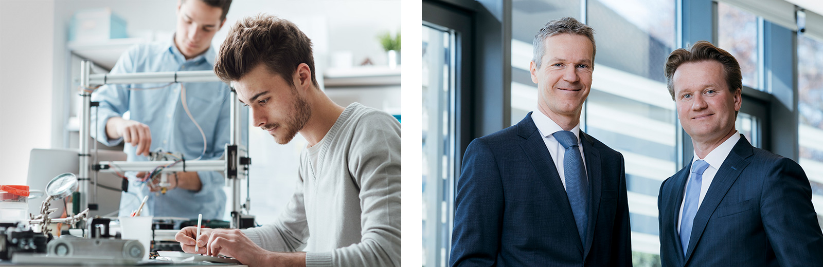 Links: Knill-Produktion, rechts: Management in Familienhand: Christian Knill und Georg Knill
