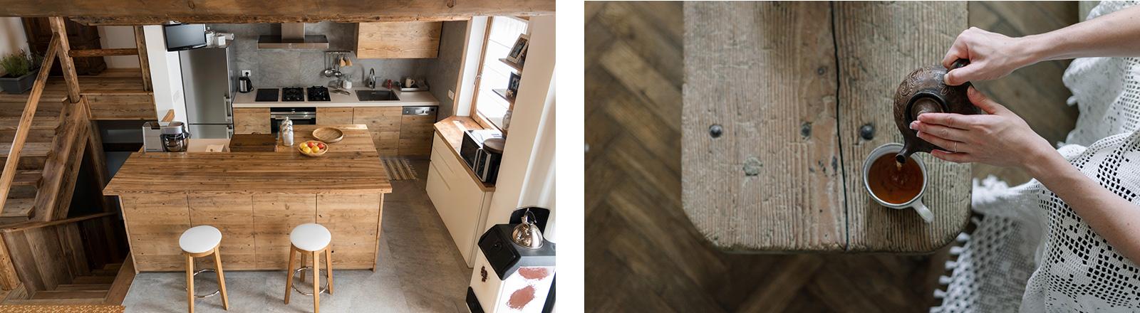 Zum Landhaus-Stil gehört unbehandeltes Holz.