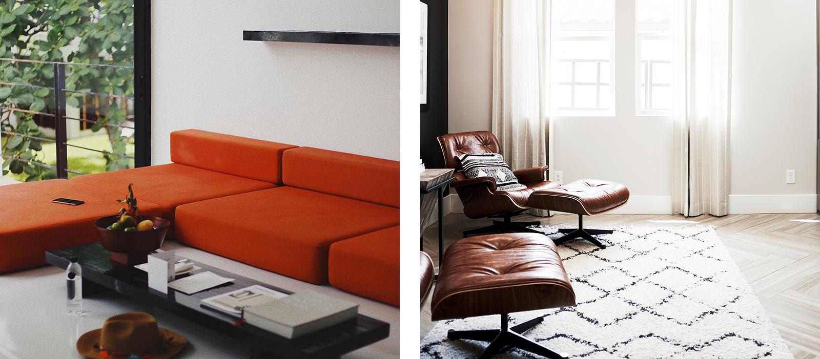 Links: Minimalistische Sofalandschaft. Rechts: Design-Klasiker von Charles Eames