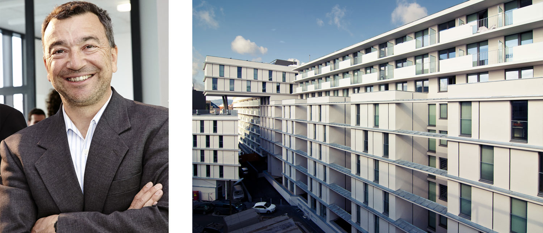 Günther Jedliczka, Geschäftsführer der OeAD-WohnraumverwaltungsGmbH, ist Passivhaus-Fan. Zu seinen Projekten der vergangenen Jahre zählt auch das OeAD Gästehaus in unmittelbarer Nähe der Wiener Einkaufsstraßen. Photovoltaik-Module auf dem Dach decken hier einen beträchtlichen Teil des Energieverbrauches.