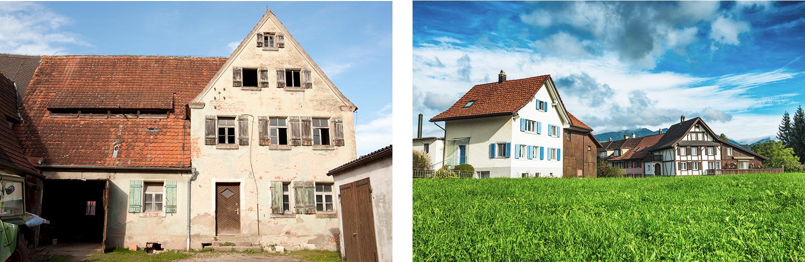 Unverwechselbar: ehemalige Bauernhäuser – unrenoviert und renoviert
