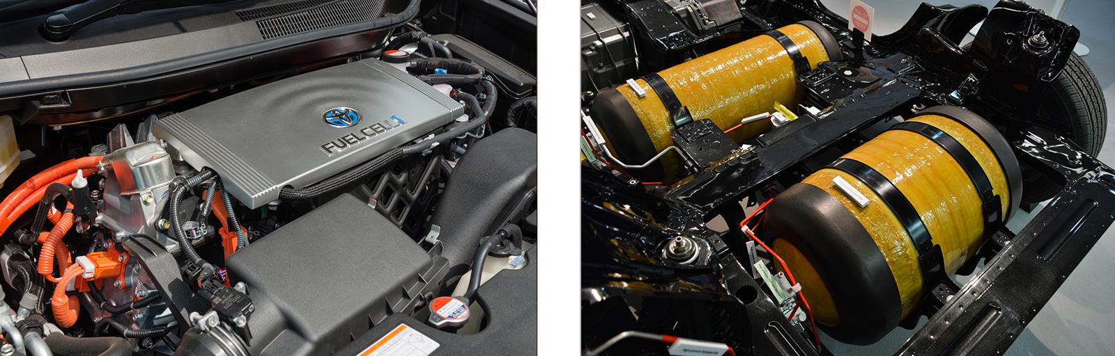 Bild links: Brennstoffzelle in einem Toyota Mirai        Rechts: Wasserstofftanks im Auto