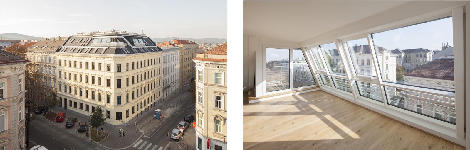 In der Wiener Koppstrasse hat Aichberger Architektur ZT fünf neue Wohnungen im Dachgeschoss geschaffen.