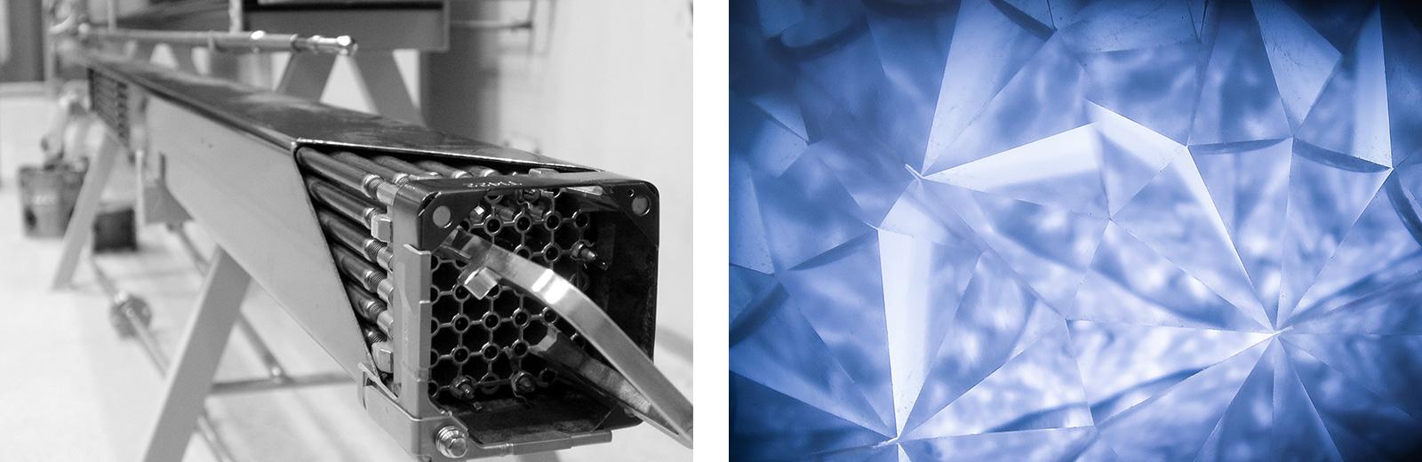 Vom Brennstab in den Diamanten. Links: Brennstäbe aus dem nicht in Beriebgenommenen AKW Zwentendorf.