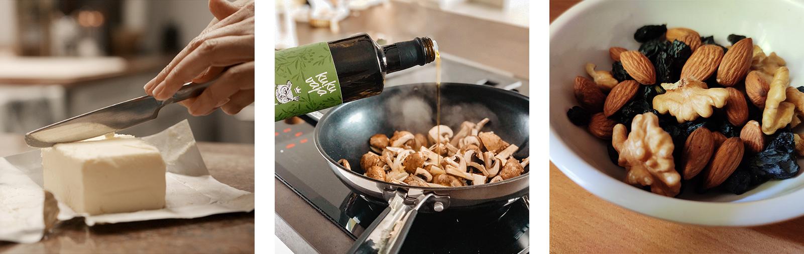 Ungesättigte Fettsäuren (Olivenöl, Nüsse) sollten die gesättigten (Butter) überwiegen.