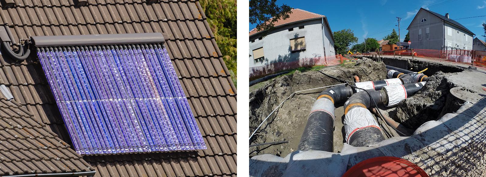 Nachhaltig heizen mit Solarthermie (links) oder Fernwärme (rechts)