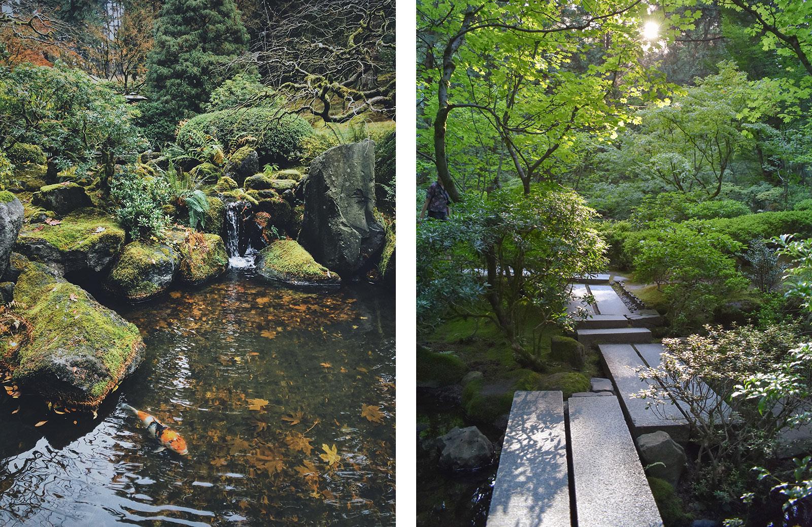 Bäume, Moos, Wasser und Steine sind wesentliche Elemente des japanischen Gartens.