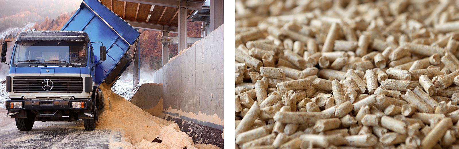 links: Anlieferung von Sägemehl für Pelletproduktion, rechts: Pellets