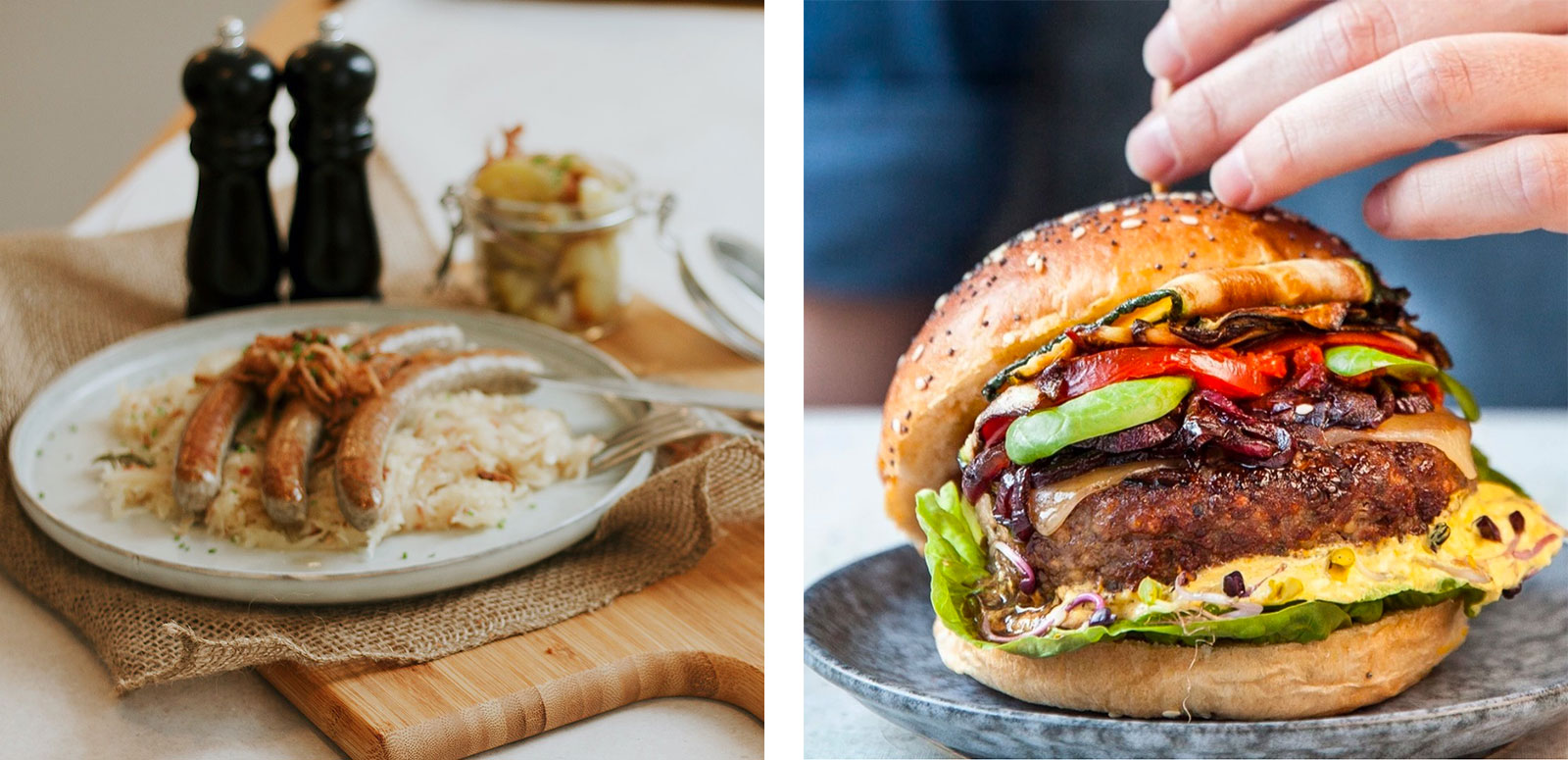 50% Fleisch: Bratwürste und Burger-Klops von Rebel Meat
