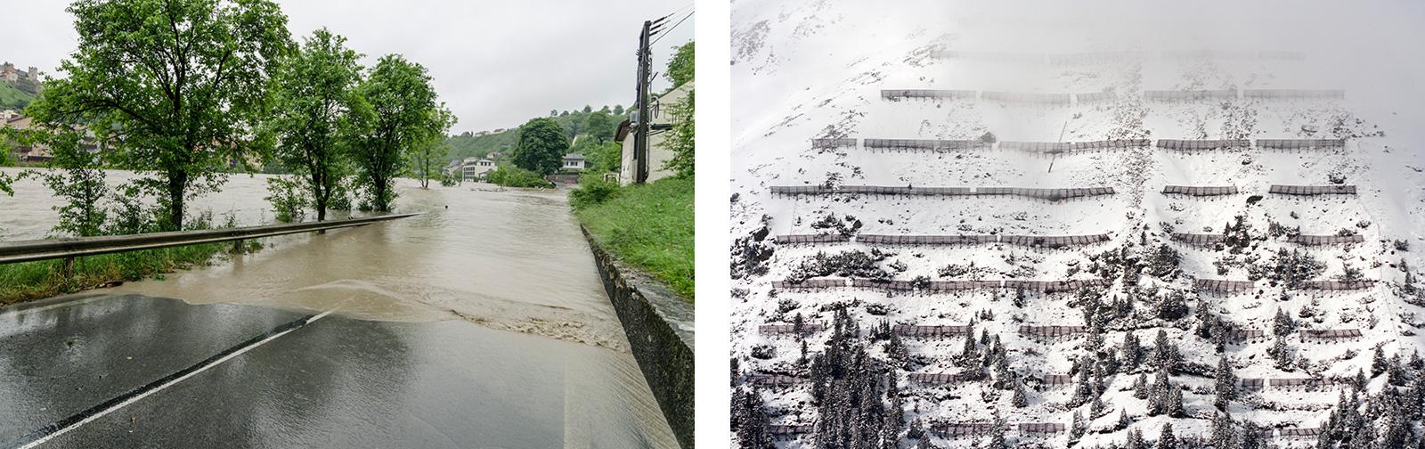 Links: Hochwasser in Hochburg-Ach, rechts: lawinenschutz in den Alpen