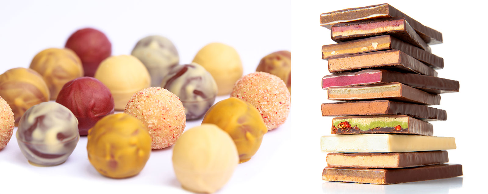 links: Biofekt, rechts: handgeschöpfte Schokolade