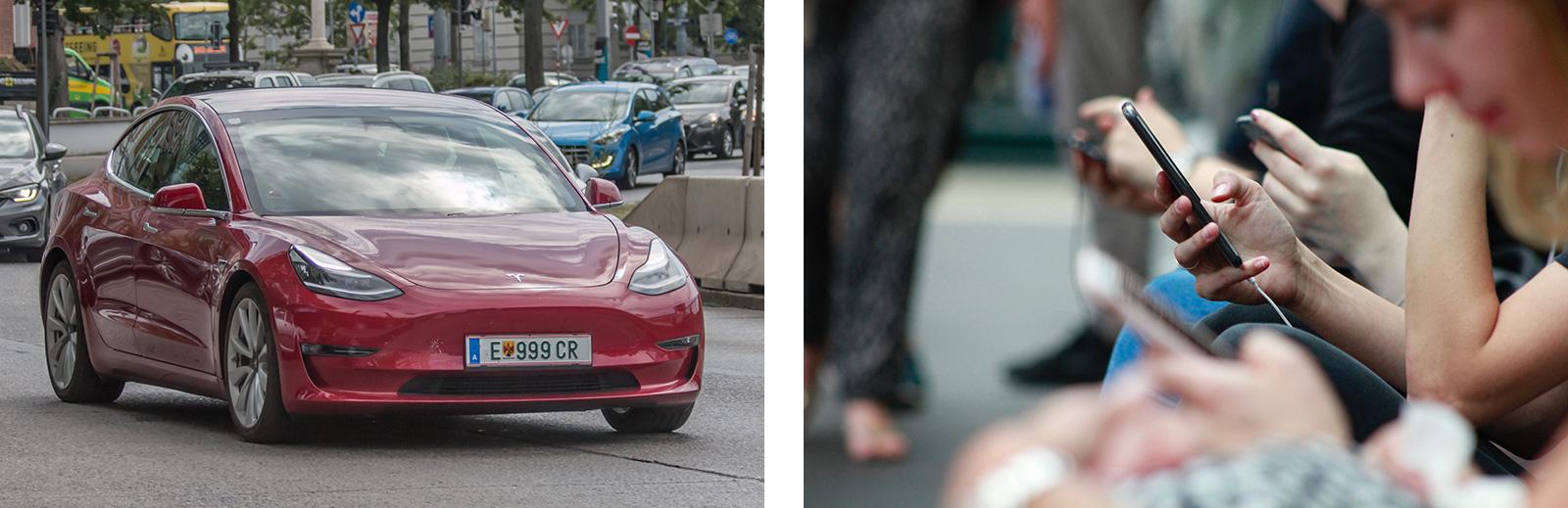 Mit Lithium-Ionen-Akkus betrieben: Tesla Modell 3, Mobiltelefone