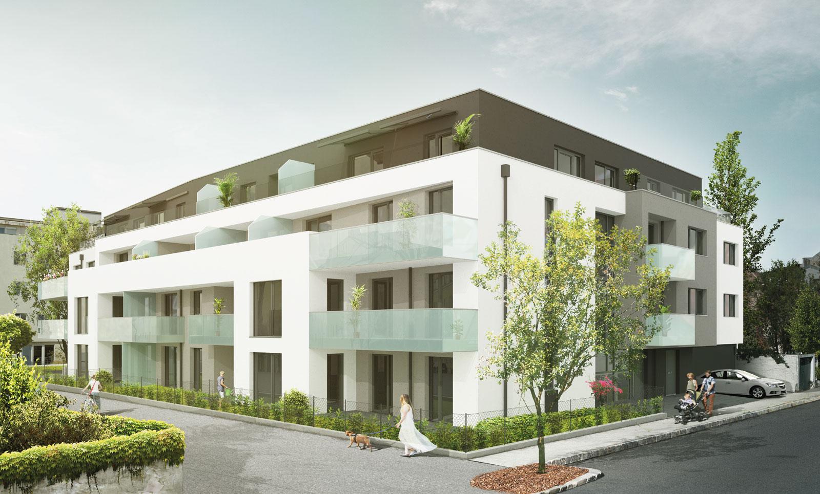 Entweder Loggia, Balkon, Terrasse oder Garten für jede Wohnung