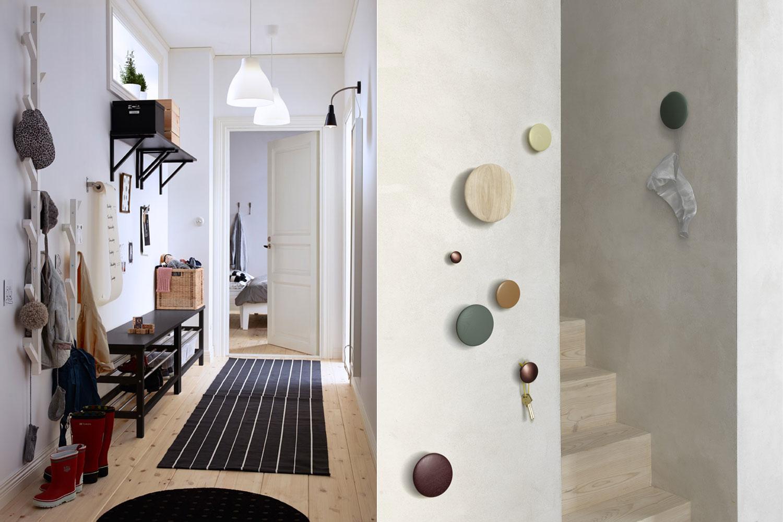 Helle Wände weiten den Raum, während Teppich und besondere Garderobenhaken wohnliche Akzente setzen.