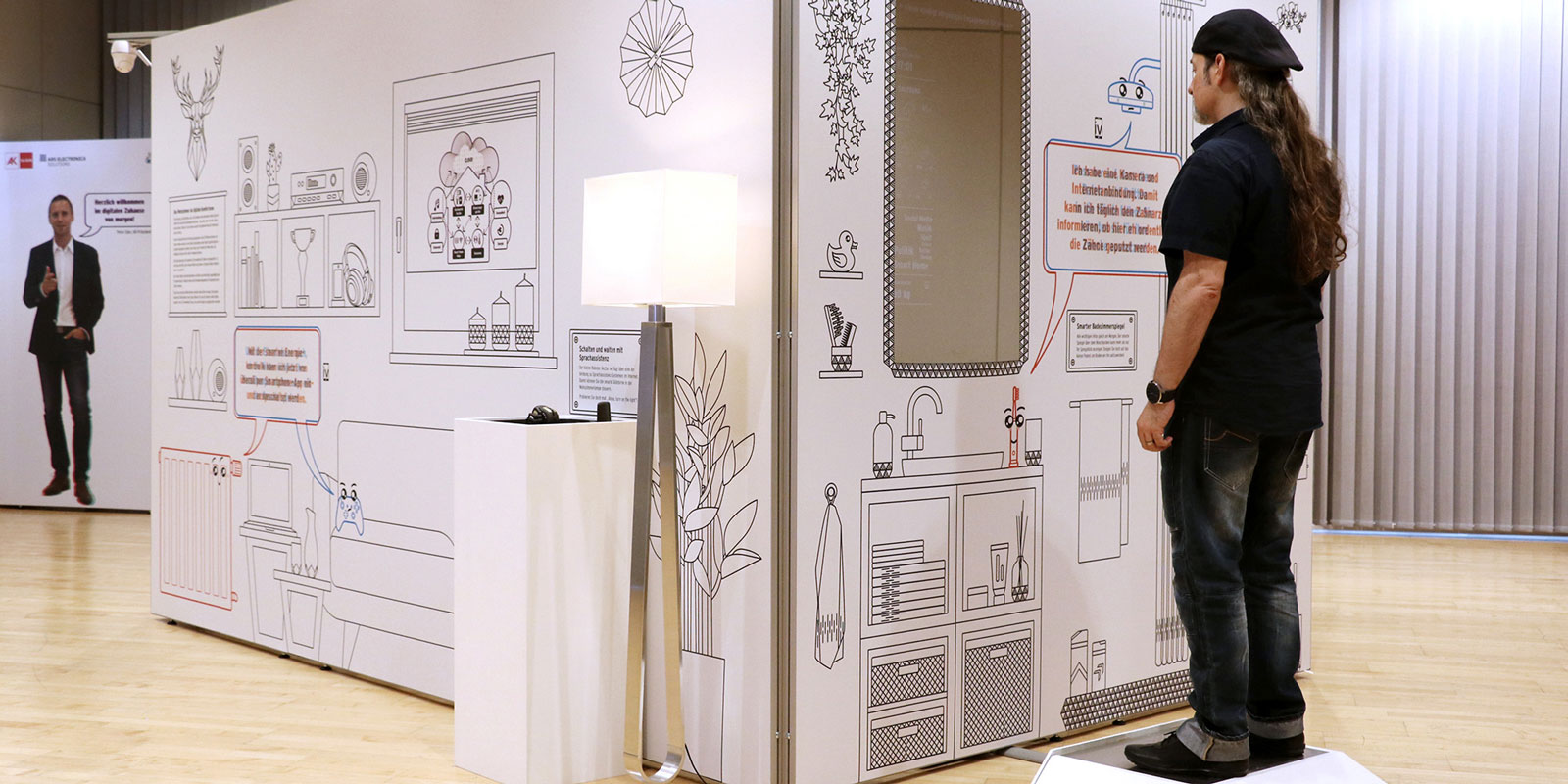 Smarter Badezimmerspiegel in der Ausstellung