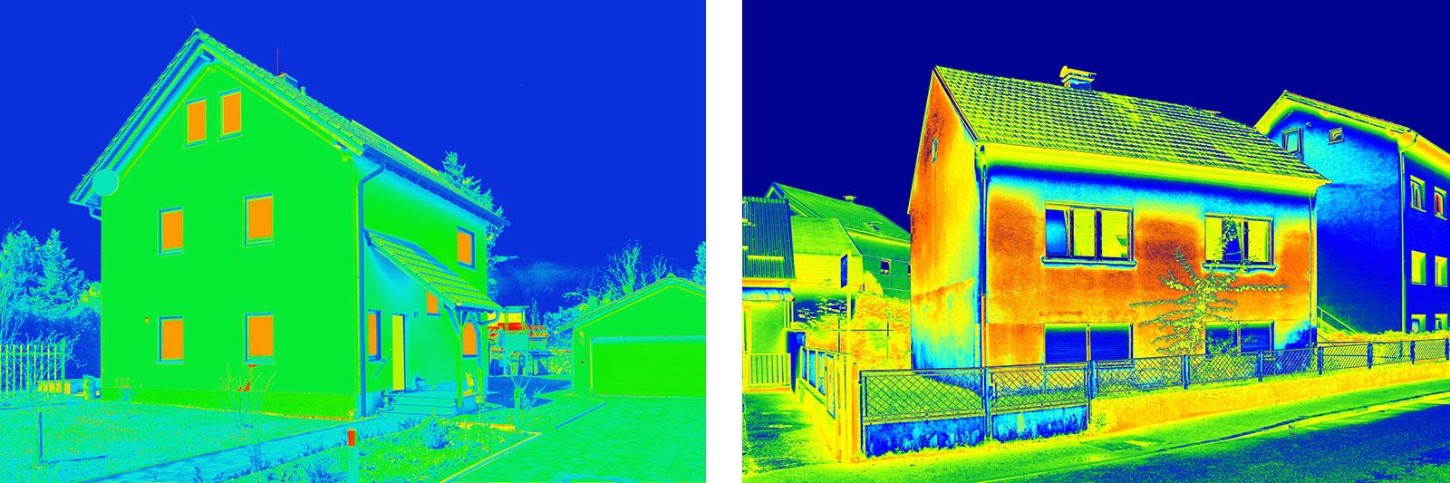 Thermografien von Häusern. Links: gute Wärmedämmung, rechts: mangelhafte Dämmung