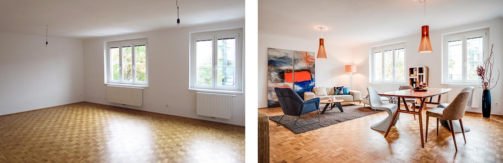 """Wohnraum vorher und """"gestaged"""""""