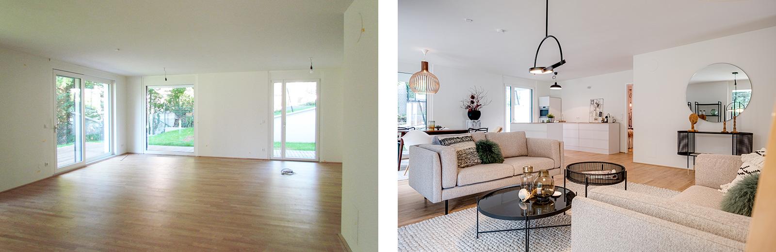 """Wohnraum mit offener Küche – vorher und """"gestaged"""""""