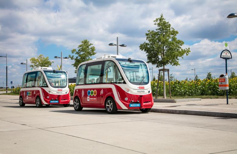 Ein autonomer E-Bus der Wiener Linien in der Seestadt