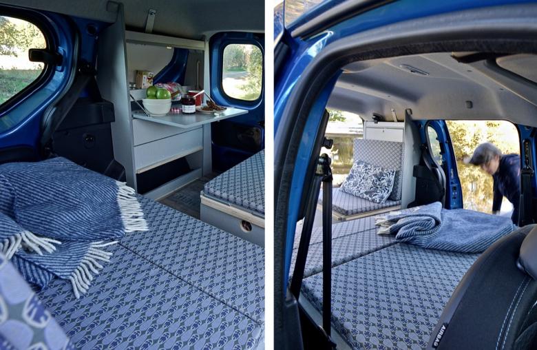 Schlafplätze, Sitzecke und Miniküche: Erstaunlich, was alles in einen Kombi passt.