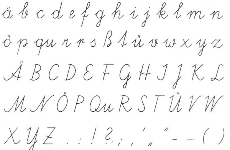 """""""Schönschreiben"""" wurde als Schulfach 1963 abgeschafft. Seit 1995 gilt eine neue Schulschrift, die sich stärker an Druckbuchstaben orientiert."""