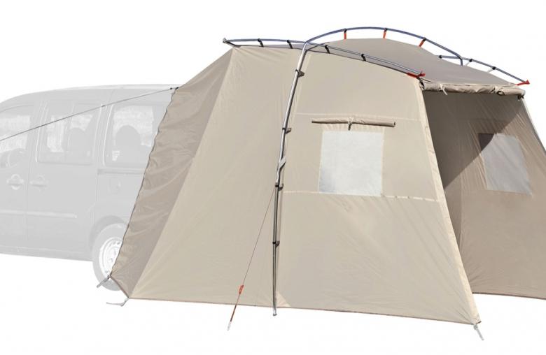 Erweiterbar: Mit einem Zelt kannst du den Raum deines Wagens nach außen hin vergrößern.