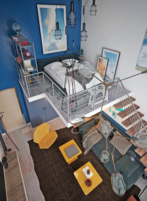 Dunkle Farben täuschen in engen Räumen horizontal angewendet Breite vor, niedrigen Zimmern helfen vertikale Formen zu mehr Höhe.