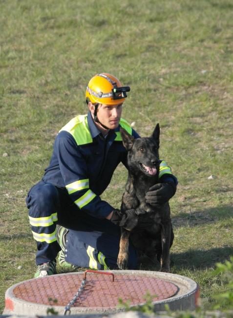 Motivation für ihre Arbeit erhalten Hunde zwischen den Einsätzen von Figuranten. Sie mimen Opfer, damit die Hunde eine Belohnung erhalten.